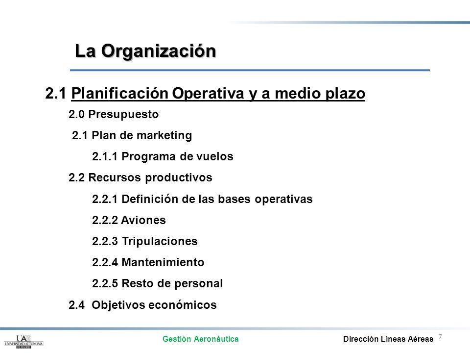 La Organización 2.1 Planificación Operativa y a medio plazo