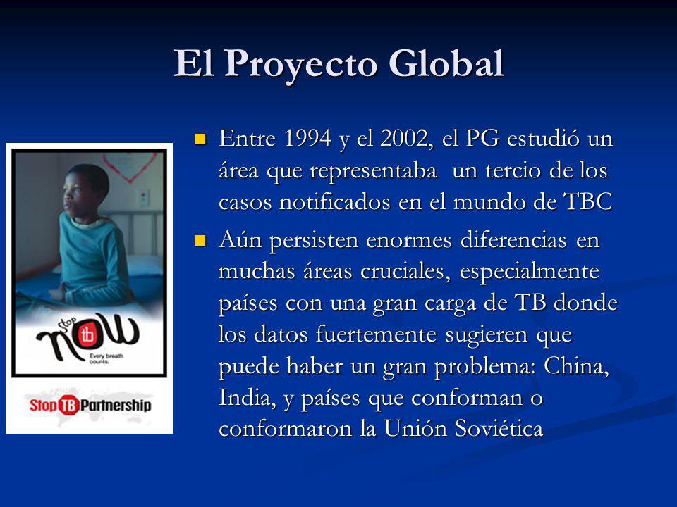 El Proyecto Global Entre 1994 y el 2002, el PG estudió un área que representaba un tercio de los casos notificados en el mundo de TBC.