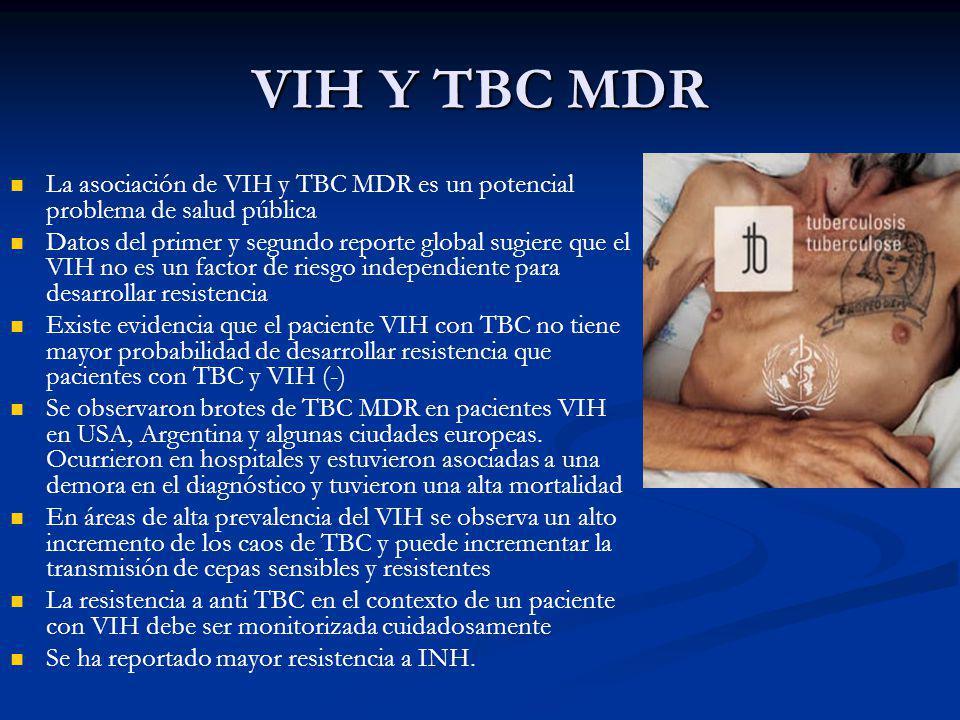VIH Y TBC MDR La asociación de VIH y TBC MDR es un potencial problema de salud pública.