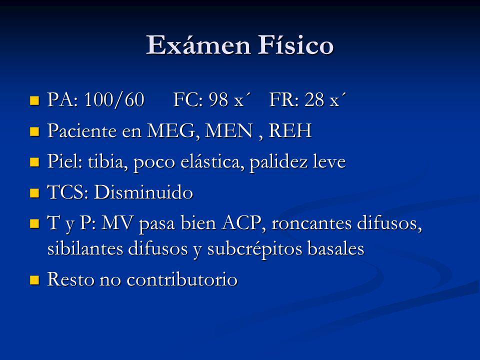 Exámen Físico PA: 100/60 FC: 98 x´ FR: 28 x´
