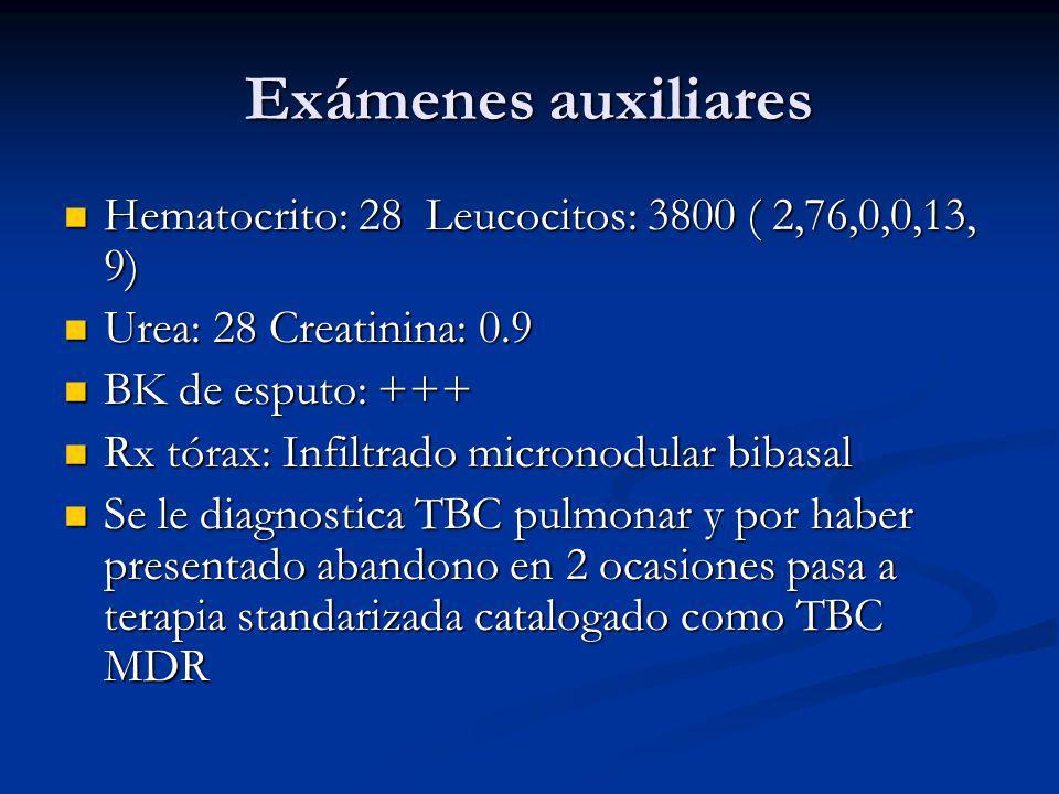 Exámenes auxiliares Hematocrito: 28 Leucocitos: 3800 ( 2,76,0,0,13, 9)