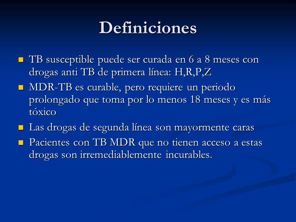Definiciones TB susceptible puede ser curada en 6 a 8 meses con drogas anti TB de primera línea: H,R,P,Z.