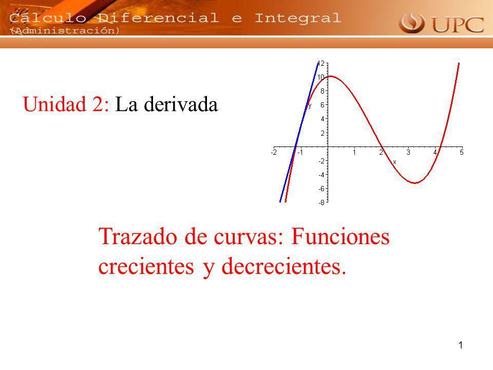 Trazado de curvas: Funciones crecientes y decrecientes.