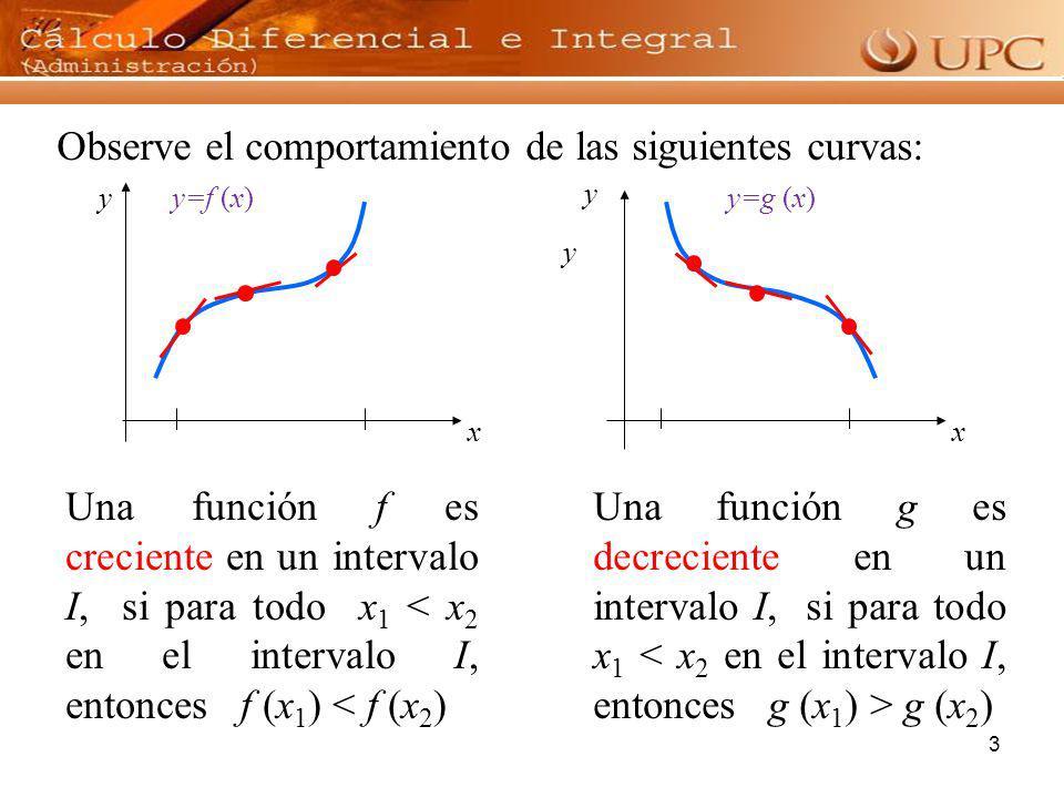 Observe el comportamiento de las siguientes curvas:
