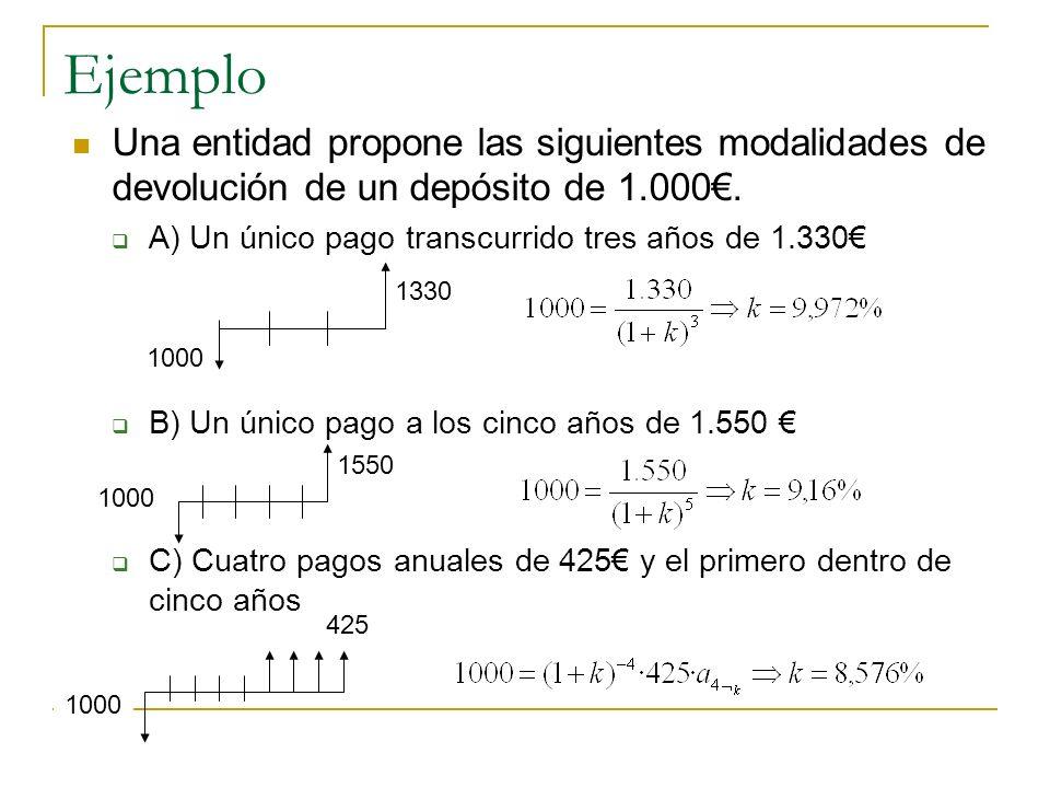 EjemploUna entidad propone las siguientes modalidades de devolución de un depósito de 1.000€. A) Un único pago transcurrido tres años de 1.330€
