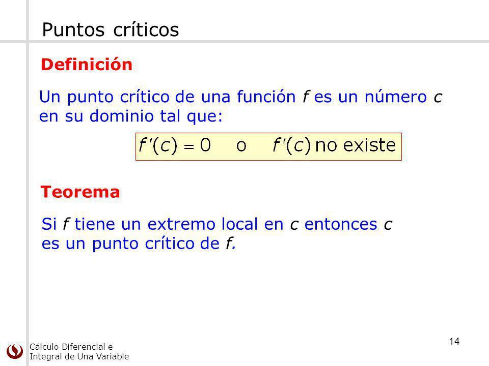 Puntos críticos Definición
