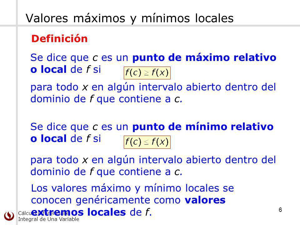 Valores máximos y mínimos locales