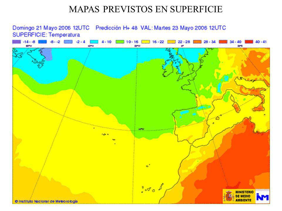 MAPAS PREVISTOS EN SUPERFICIE