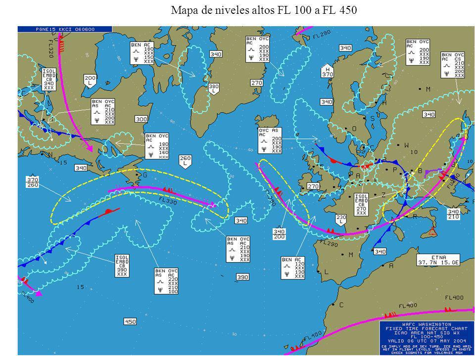 Mapa de niveles altos FL 100 a FL 450