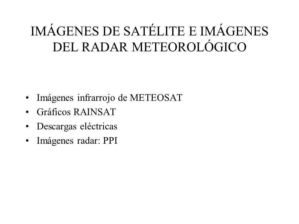 IMÁGENES DE SATÉLITE E IMÁGENES DEL RADAR METEOROLÓGICO