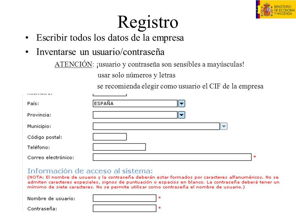 Registro Escribir todos los datos de la empresa