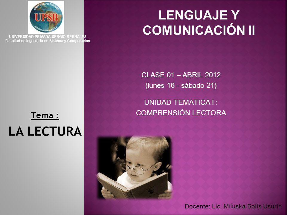 LENGUAJE Y COMUNICACIÓN II
