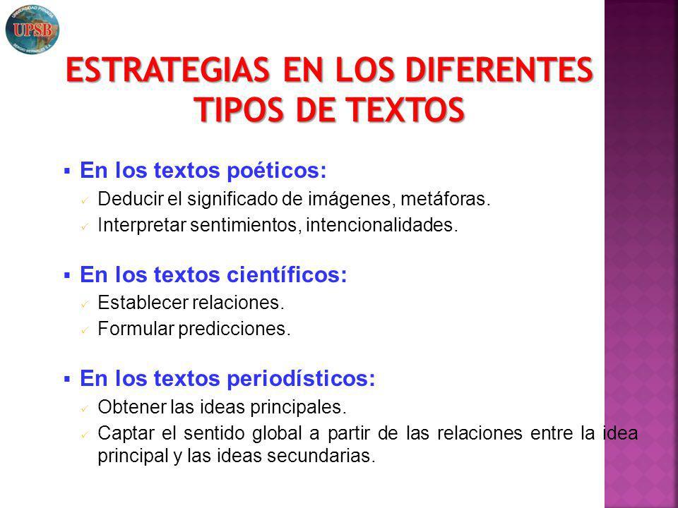 ESTRATEGIAS EN LOS DIFERENTES TIPOS DE TEXTOS