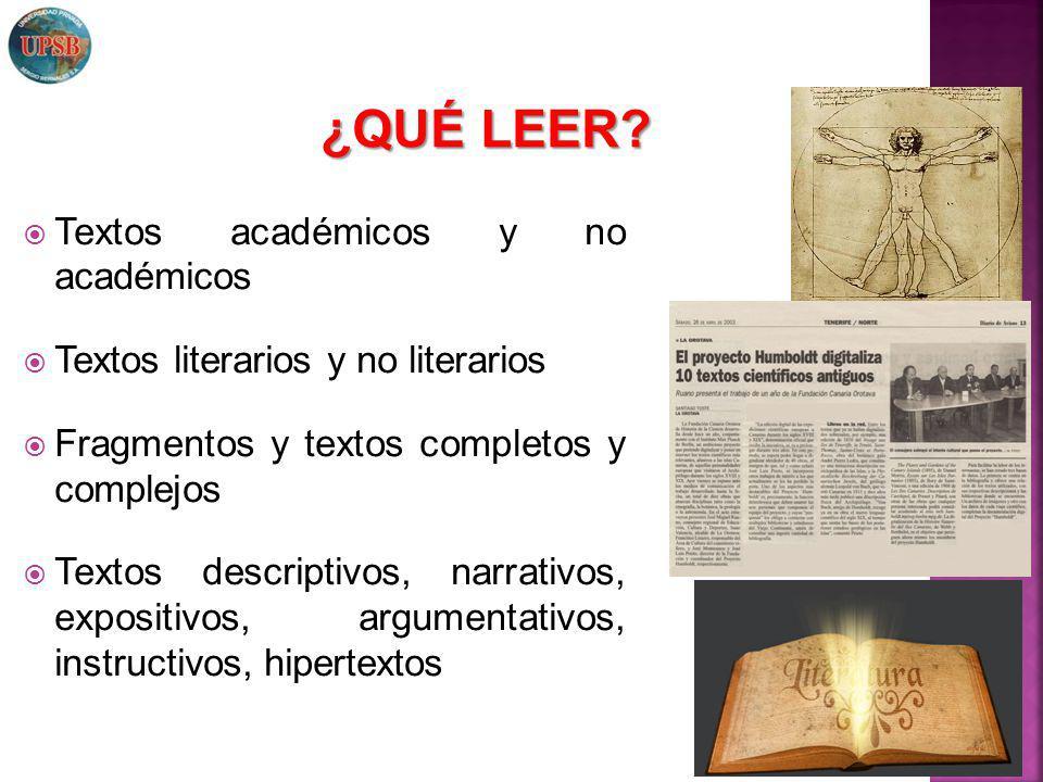 ¿QUÉ LEER Textos académicos y no académicos