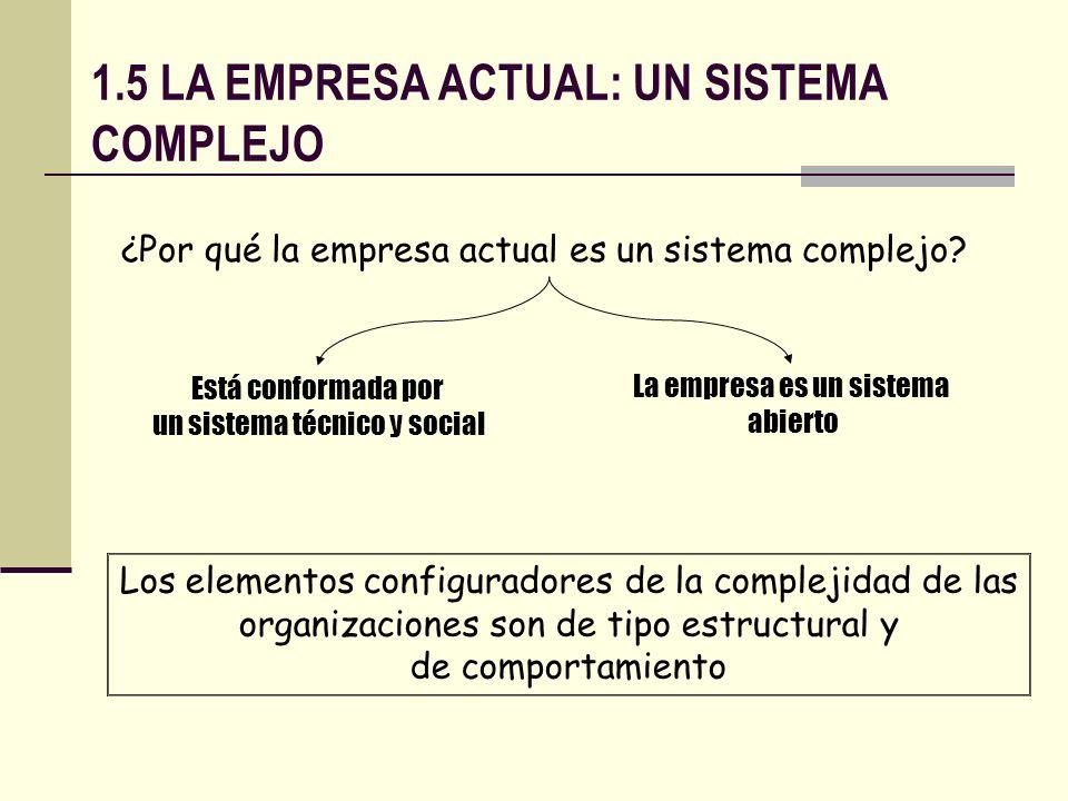 1.5 LA EMPRESA ACTUAL: UN SISTEMA COMPLEJO
