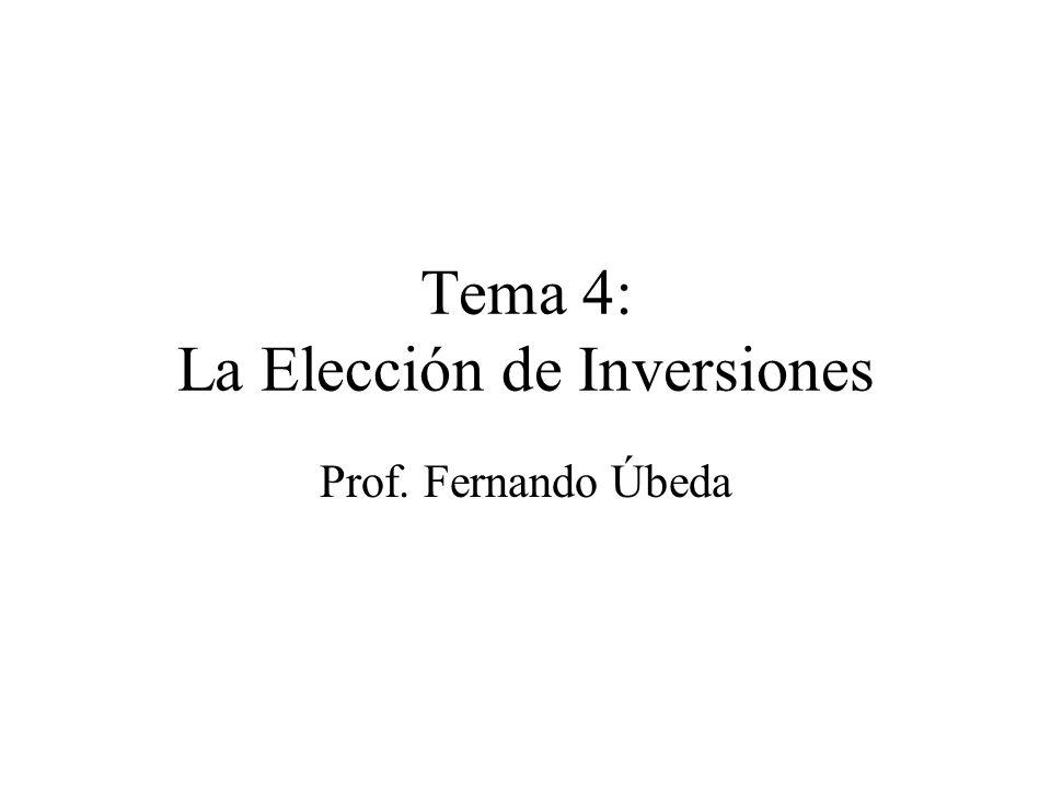 Tema 4: La Elección de Inversiones