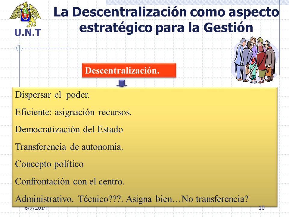 La Descentralización como aspecto estratégico para la Gestión