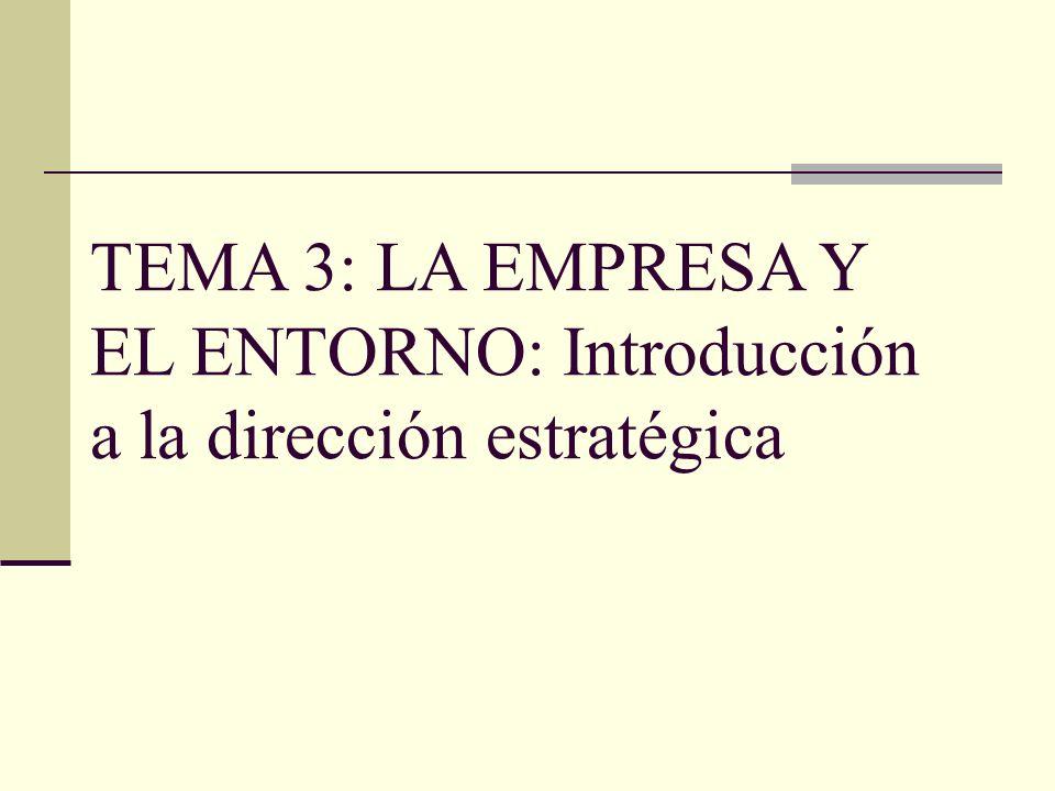 TEMA 3: LA EMPRESA Y EL ENTORNO: Introducción a la dirección estratégica