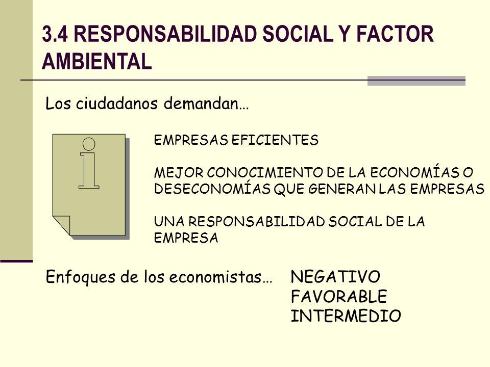 3.4 RESPONSABILIDAD SOCIAL Y FACTOR AMBIENTAL