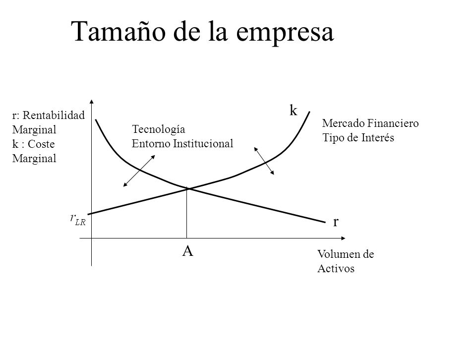 Tamaño de la empresa k r A r: Rentabilidad Marginal Mercado Financiero