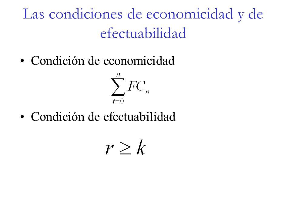Las condiciones de economicidad y de efectuabilidad