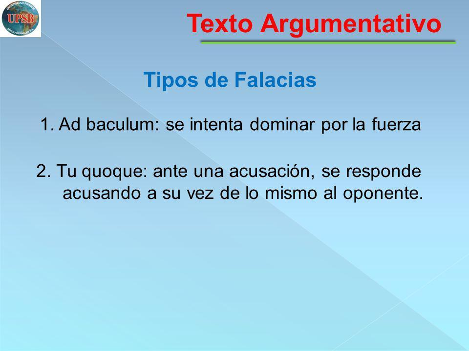 Texto Argumentativo Tipos de Falacias