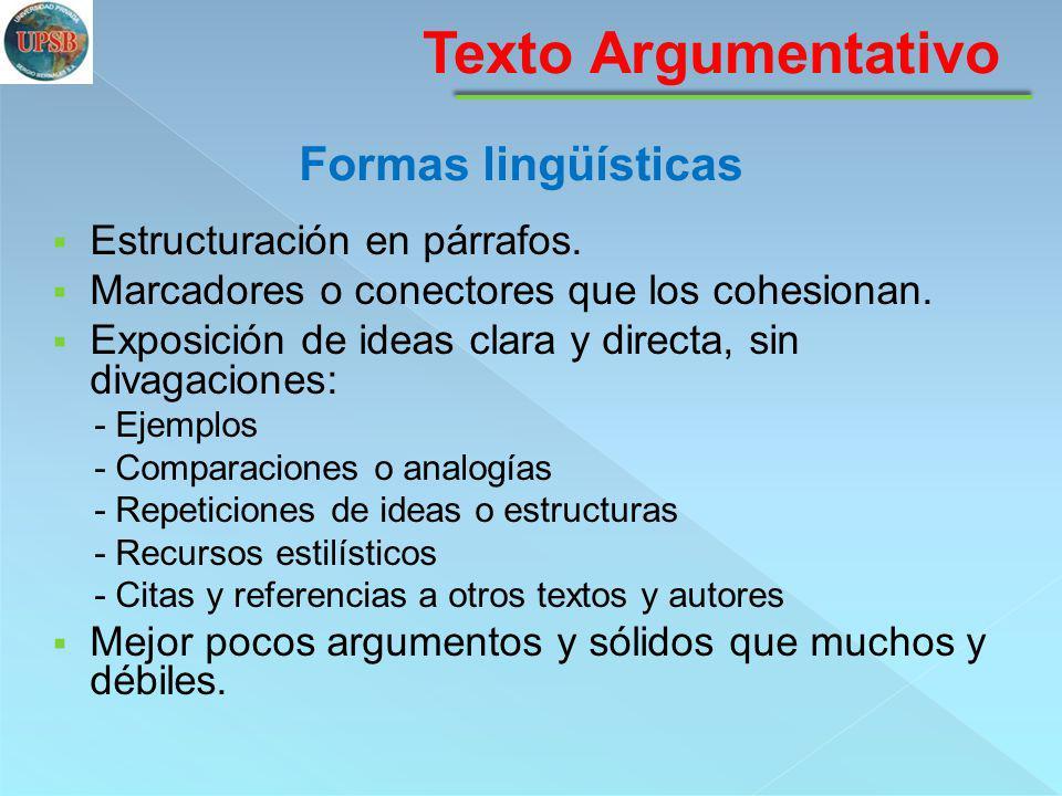 Texto Argumentativo Formas lingüísticas Estructuración en párrafos.