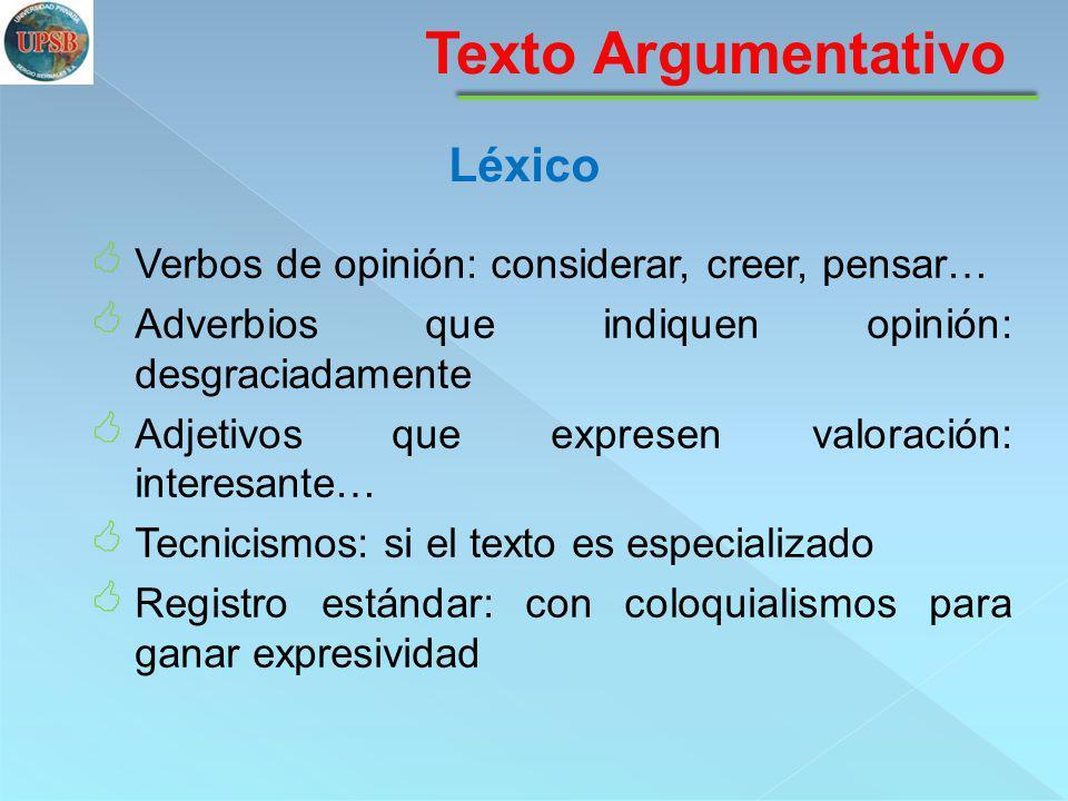 Texto Argumentativo Léxico