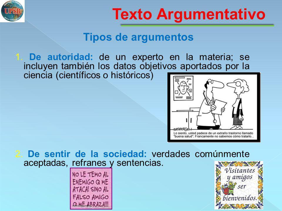 Texto Argumentativo Tipos de argumentos