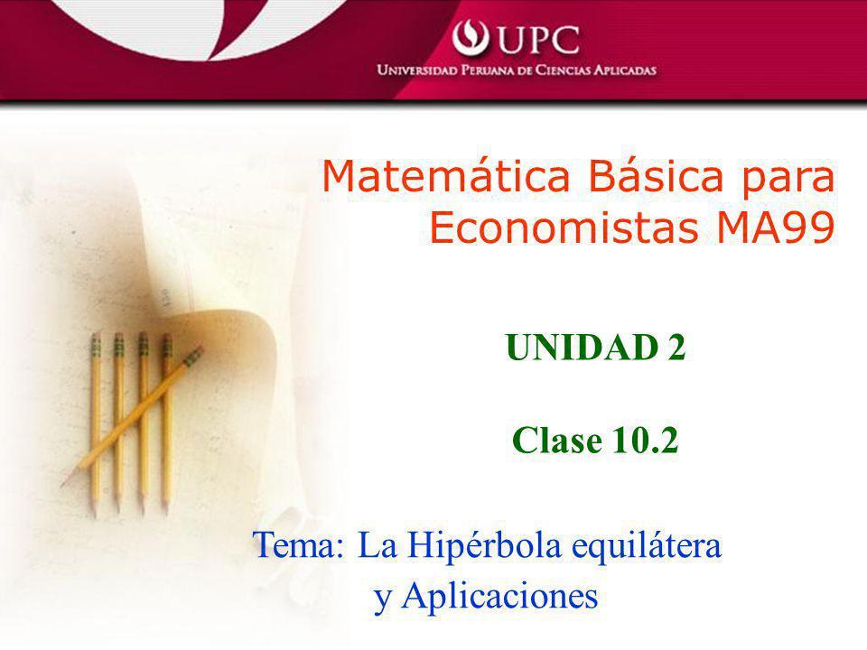 Tema: La Hipérbola equilátera