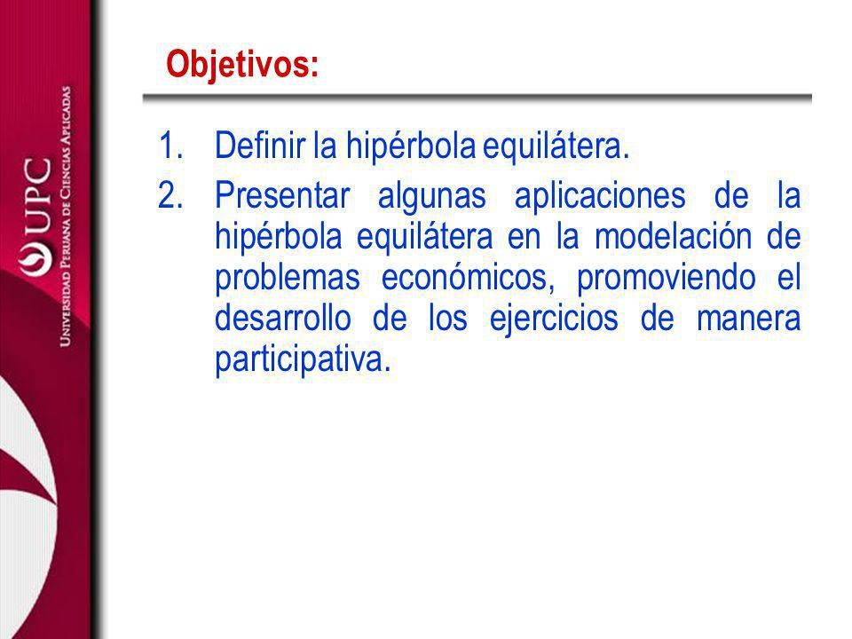 Objetivos: Definir la hipérbola equilátera.