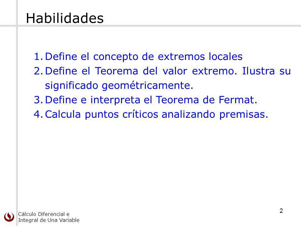 Habilidades Define el concepto de extremos locales