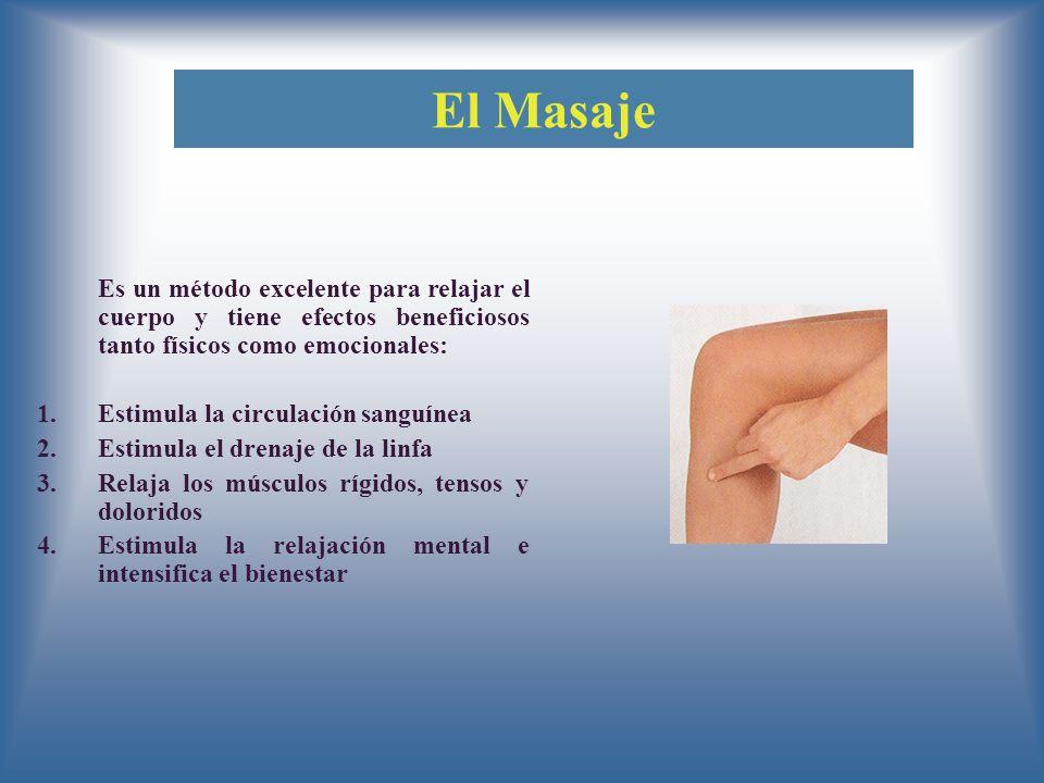 El Masaje Es un método excelente para relajar el cuerpo y tiene efectos beneficiosos tanto físicos como emocionales: