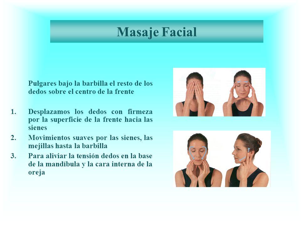 Masaje Facial Pulgares bajo la barbilla el resto de los dedos sobre el centro de la frente.