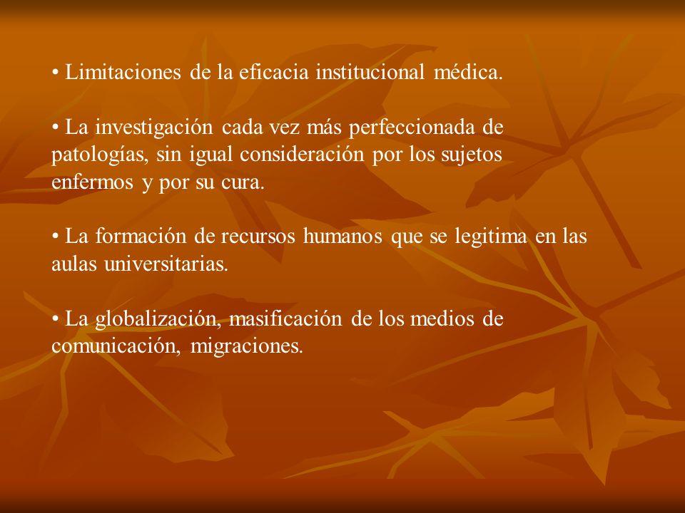 Limitaciones de la eficacia institucional médica.