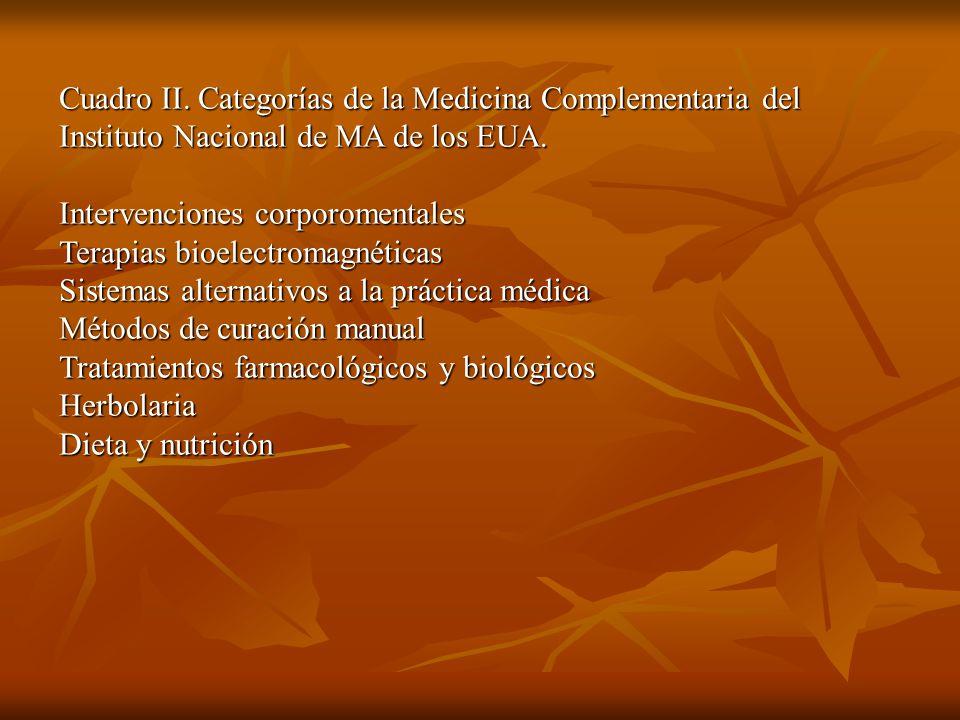 Cuadro II. Categorías de la Medicina Complementaria del Instituto Nacional de MA de los EUA.