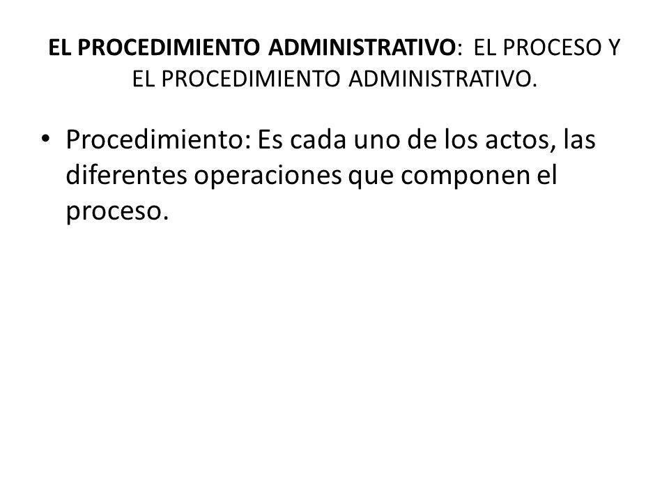EL PROCEDIMIENTO ADMINISTRATIVO: EL PROCESO Y EL PROCEDIMIENTO ADMINISTRATIVO.