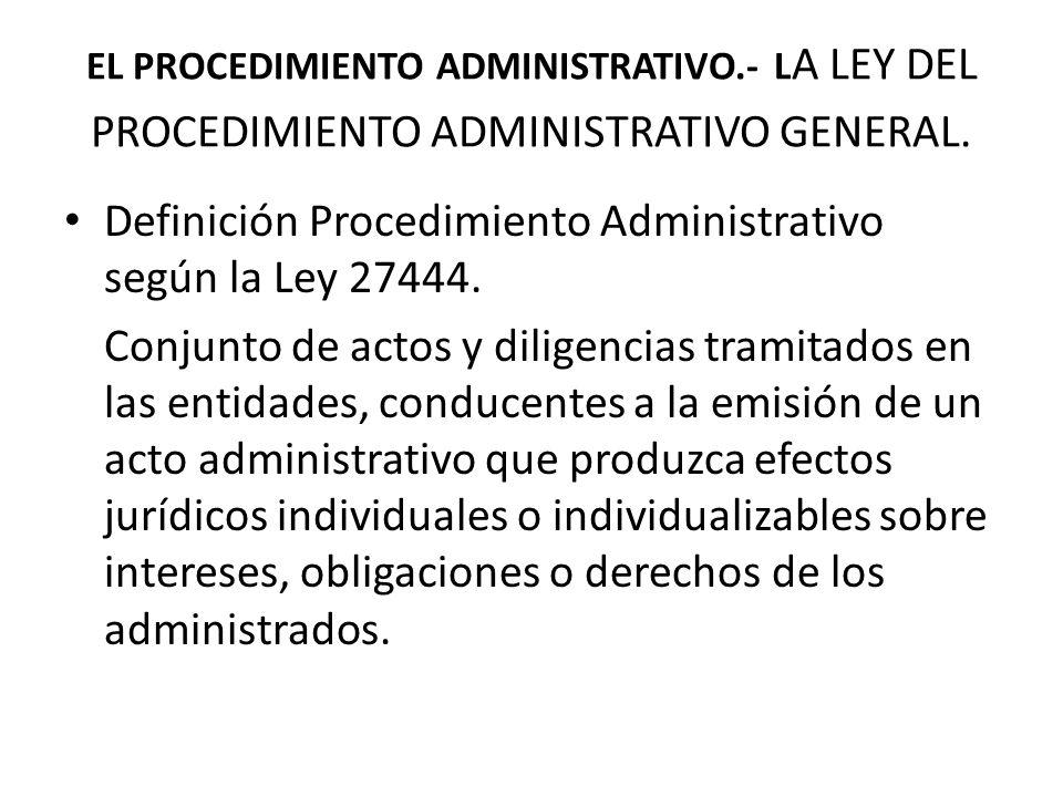 Definición Procedimiento Administrativo según la Ley 27444.