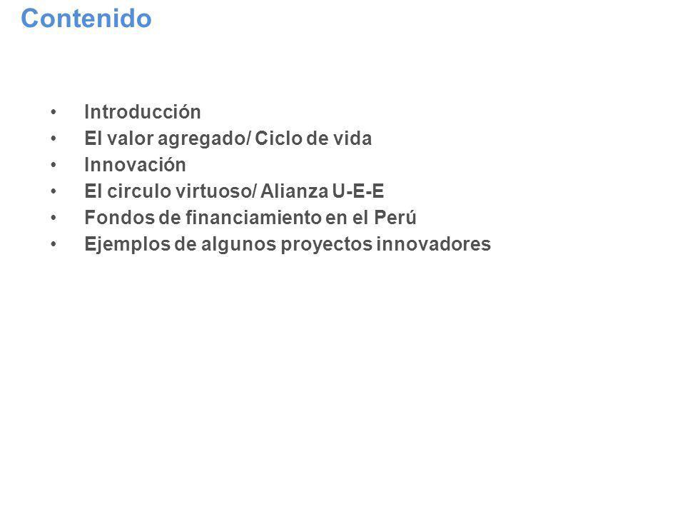 Contenido Introducción El valor agregado/ Ciclo de vida Innovación