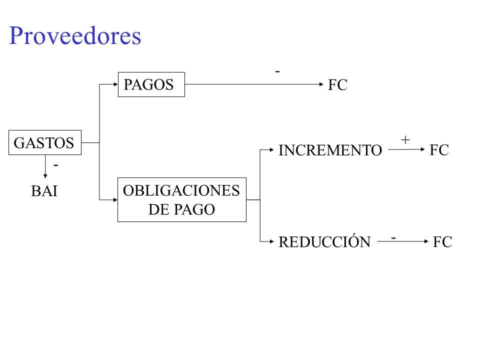 Proveedores - PAGOS FC GASTOS + INCREMENTO FC - BAI OBLIGACIONES