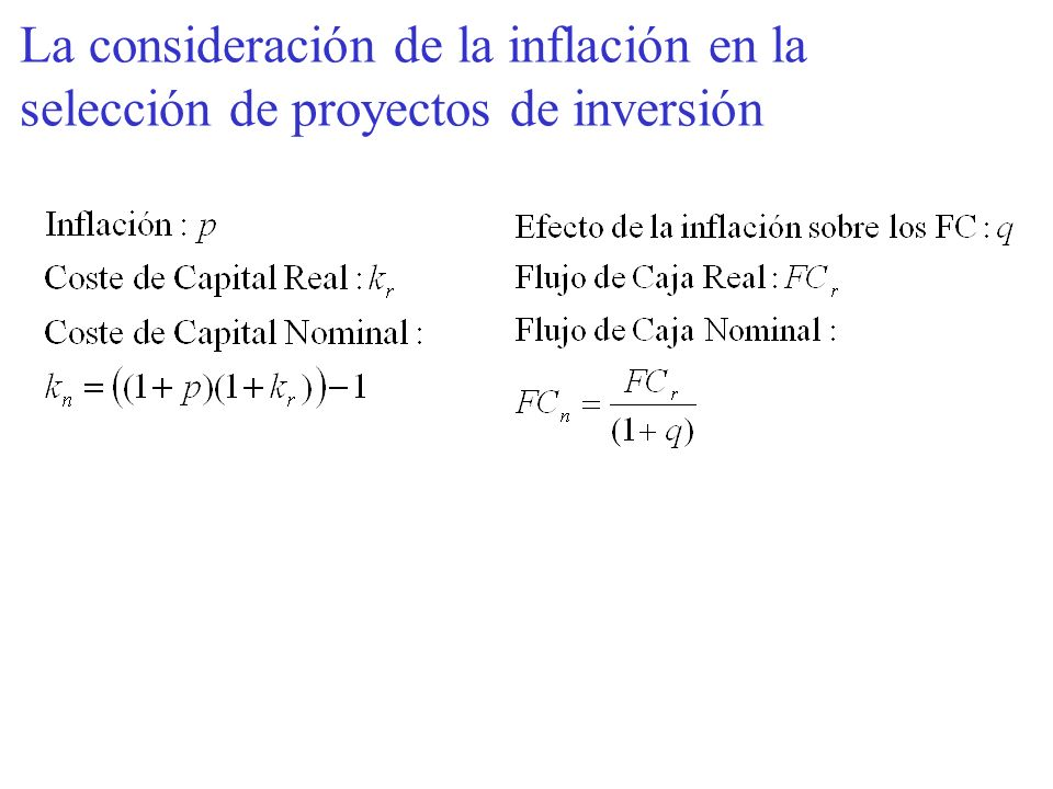 La consideración de la inflación en la selección de proyectos de inversión