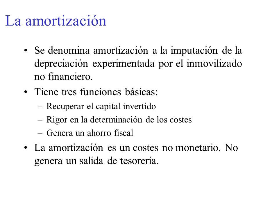 La amortización Se denomina amortización a la imputación de la depreciación experimentada por el inmovilizado no financiero.