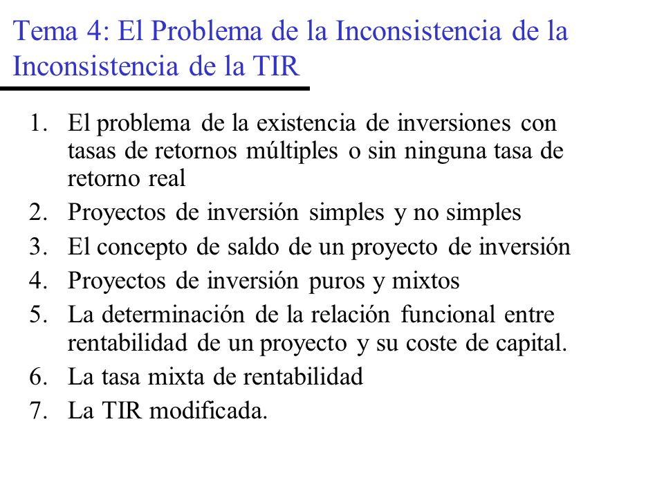 Tema 4: El Problema de la Inconsistencia de la Inconsistencia de la TIR