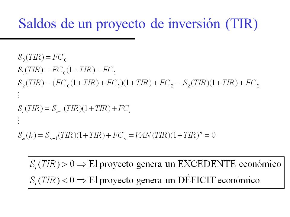 Saldos de un proyecto de inversión (TIR)