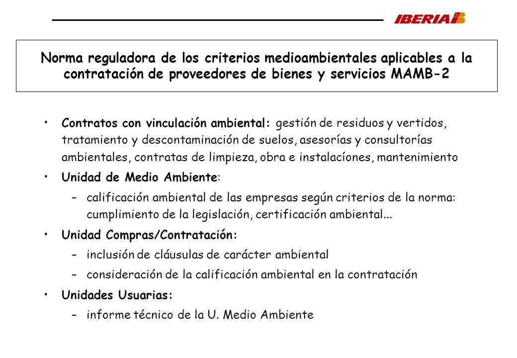 Norma reguladora de los criterios medioambientales aplicables a la contratación de proveedores de bienes y servicios MAMB-2