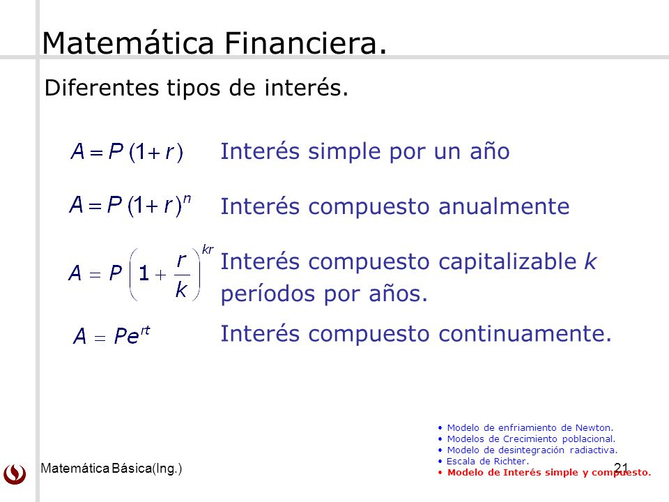 Matemática Financiera.