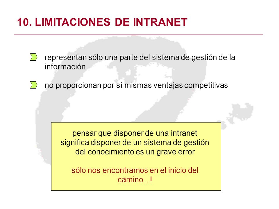 10. LIMITACIONES DE INTRANET