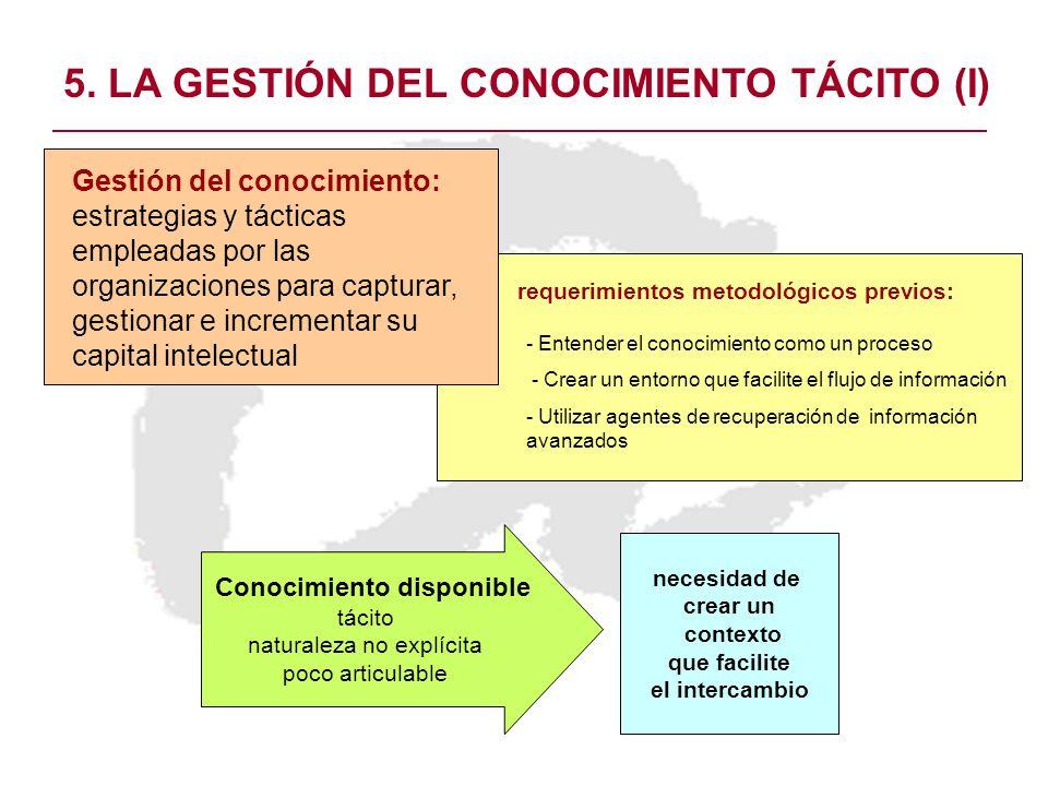 5. LA GESTIÓN DEL CONOCIMIENTO TÁCITO (I)