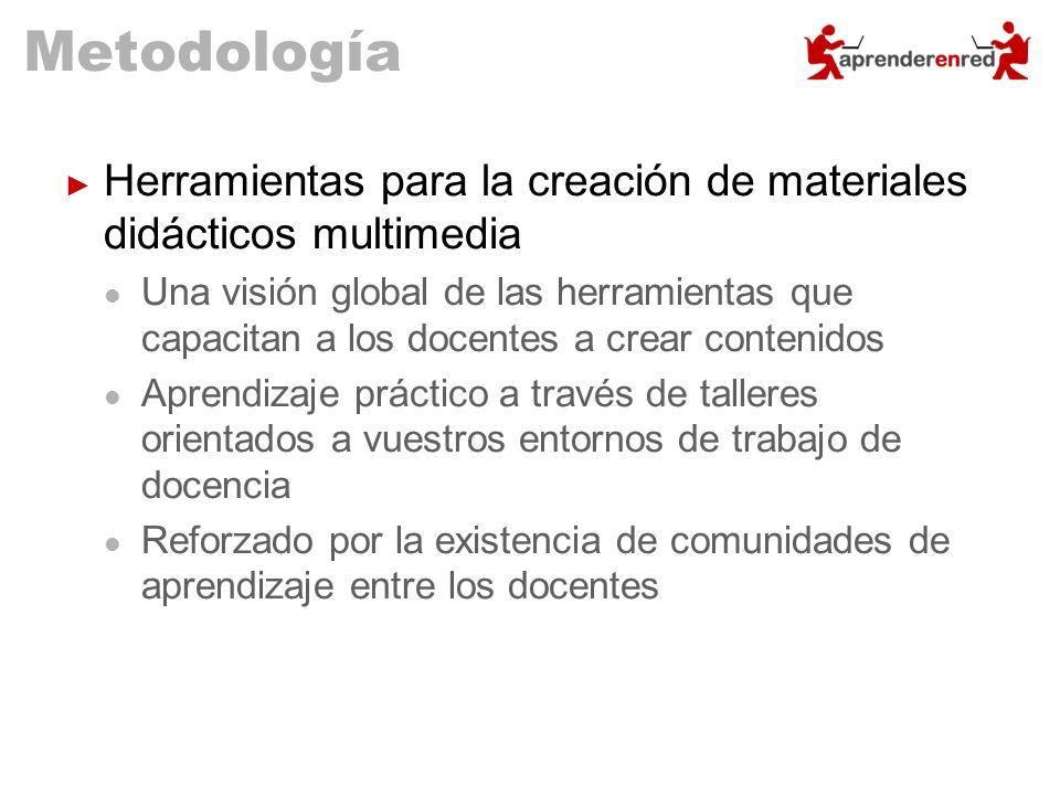 Metodología Herramientas para la creación de materiales didácticos multimedia.