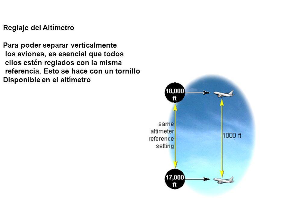 Reglaje del AltímetroPara poder separar verticalmente. los aviones, es esencial que todos. ellos estén reglados con la misma.
